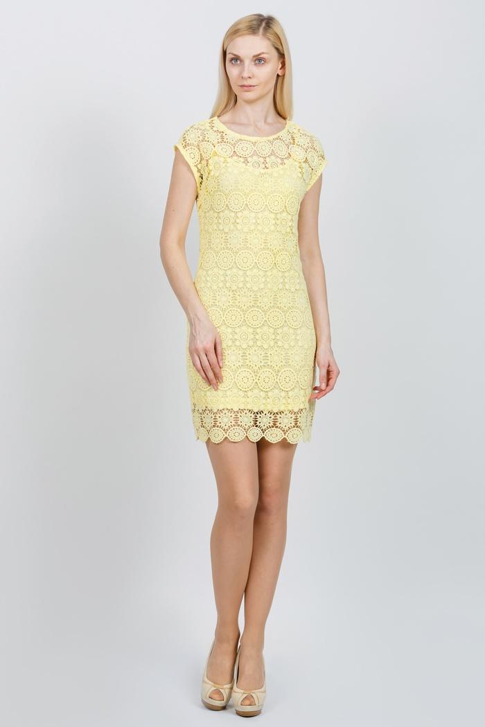 1426 летнее кружевное платье желтое