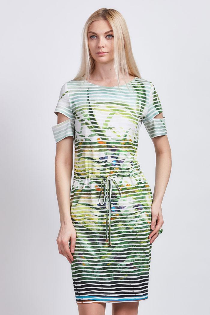 платье 518 с цветочным принтом в полоску